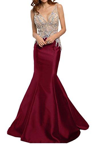 Promkleid Weinrot Lang Luxurioes Ivydressing Abendkleider Mermaid Satin Rueckenfrei Strass Festkleid Damen FvvagO