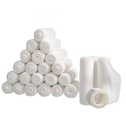 """24 Gauze Bandage Rolls with Medical Tape, Stretch Bandage Roll, 4"""" x 4 Yards Stretched, FDA Approved, Medical Grade Sterile First Aid Wound Care, Dressing, Cotton Ply by California - Sterile Scissors"""