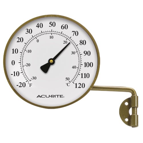 AcuRite 00334 4-Inch Brass Swivel Thermometer ()