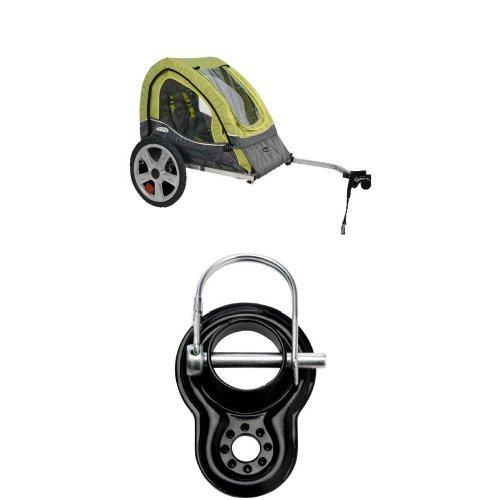 InStep Sync Single Bicycle Trailer, Green/Gray and Trailer Coupler Attachment - InStep & Schwinn Bike Trailers (SA074) - Trailer Instep Bicycle