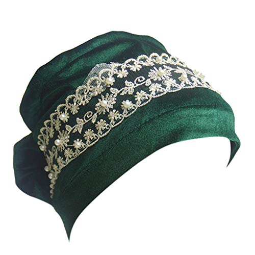 OSTELY Women Mesh Long Tube Turban Caps Velvet lace Pearl Turban Cap Muslim Cap Indian Wrap Head(Green)