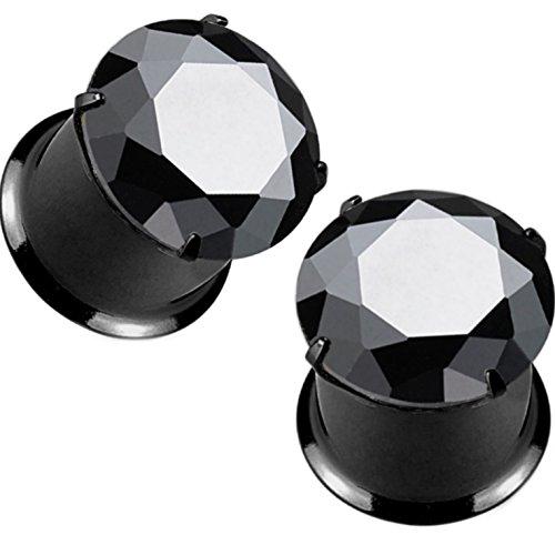 Pair of Prong Set Black Gem Top Ear Tunnels Plugs Double Flared Black IP Steel Gauges - 1G (7mm) (Pronged Gem Piercing Ear Earrings)