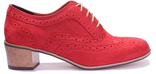 Justin Reece Damen Leder Lace Up Medium Ferse Schuhe Brogue Block Red PN12