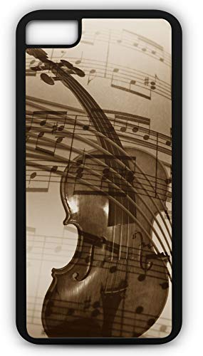 iPhone 8 Case Violin Treble Clef Sound Concert Band Instrument Bow Customizable by TYD Designs in Black Rubber]()