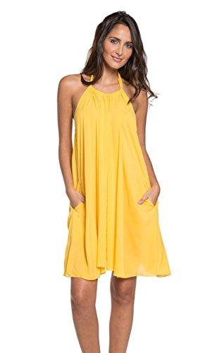 Elan Women's Sleeveless High Neck Beach Cover Up Dress (Large, Yellow) (Elan Swimwear)