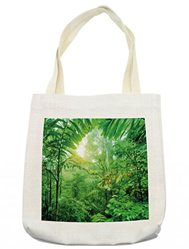 Lunarable Nature Tote Bag, Fresh Green Rainforest in National Park of Costa Rica Tropical Wilderness Jungle Photo, Cloth Linen Reusable Bag for Shopping Books Beach and More, 16.5