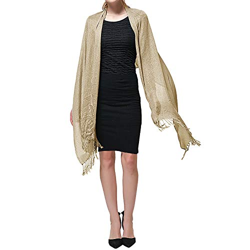 Shawls and Wraps for Evening Dresses, Wedding Metallic Shine Shawl Scarf for Women (Gold Sparkle)