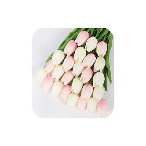 21PCS/LOT pu Mini Tulip Flower Real Touch Wedding Flower Artificial Flower Silk Flower Home Decoration Hotel Party,White Pink c