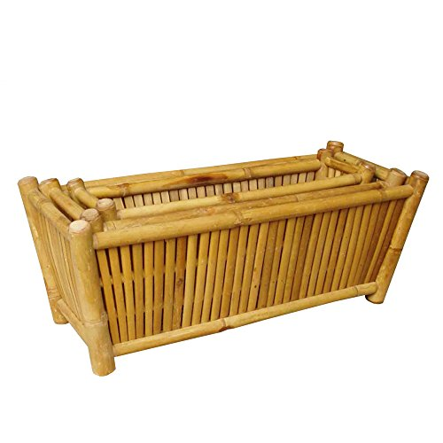 Planters, Outdoor Planters, Outdoor Bamboo Planters (Pack of 3) Sturdy Bamboo Construction and Organic-style finish- No by Beautiful Home