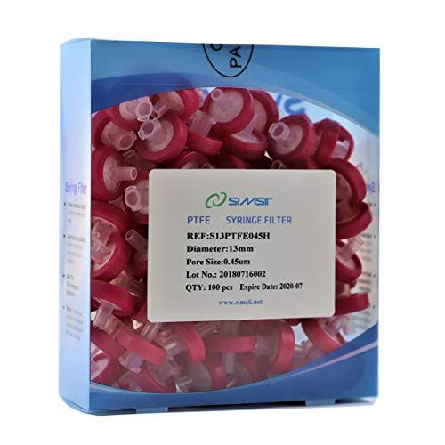 Simsii Syringe Filter, Hydrophobic PTFE, Diameter 13 mm, Pore Size 0.45 μm, 100/pack