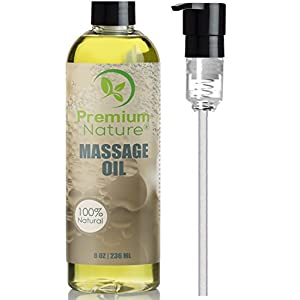 Massage Body Oil Skin Lotion - Flawless Natural Sensual Relaxing Cream Gel for Men & Women Essential Oils Scent Grapefruit & Lemongrass - Aromatherapy Lubricant For Dry Skin Muscles Body 8oz
