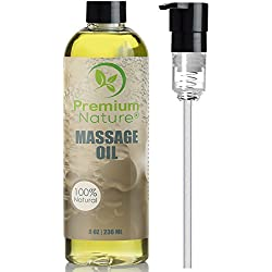 Massage Body Oil Skin Lotion - Anti Cellulite Natural Sensual Relaxing Gel Stress Anxiety Relief Gift for Men & Women Essential Oils Scent Grapefruit & Lemongrass Aromatherapy Lubricant Lube Dry Skin