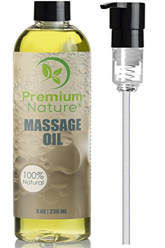 Massage Body Oil Skin Lotion - Anti Cellulite Natural Sensual Relaxing Gel Stress Anxiety Relief Gift for Men & Women Essential Oils Scent Grapefruit & Lemongrass Aromatherapy Lubricant Lube Dry Skin (Coconut Scented Massage Oil)