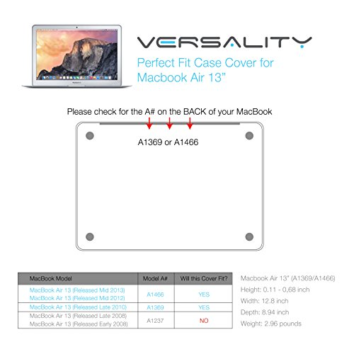 Versality Perfect Fit Hard Case Cover for MacBook Air 13.3