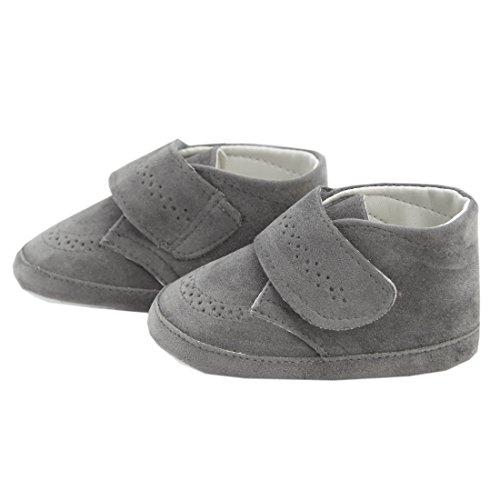 Festliche Babyschuhe Baby Schuhe für Jungen grau Klettverschluss Modell 4914-g