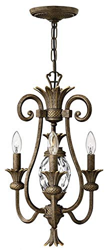 (Plantation Mini Chandelier With 3 Candle Lights In Pearl)
