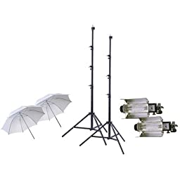 Lowel Tota-light 2-Pk Wide Angle Quartz Light, 120-220/240v, 300-800w - Bundle with 2x Lowel T126 Tota-brella Special 27in White Umbrella, 2x Flashpoint Pro Air Cushioned Heavy Duty Light Stand, 9.5\'