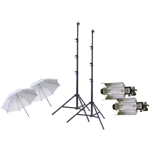 Lowel Tota-light 2-Pk Wide Angle Quartz Light, 120-220/240v, 300-800w - Bundle with 2x Lowel T126 Tota-brella Special 27in White Umbrella, 2x Flashpoint Pro Air Cushioned Heavy Duty Light Stand, 9.5' (Wide Light Quartz Angle)