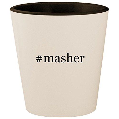 Masher Mashy Egg (#masher - Hashtag White Outer & Black Inner Ceramic 1.5oz Shot Glass)