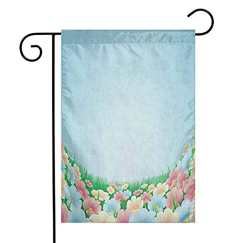 duommhome Garden Garden Flag Curvy Fresh Meadow with Pastel Colored Daisies Pansies Yard Growth Countryside Art Decorative Flags for Garden Yard Lawn W12 x L18 ()