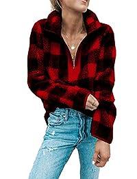 Womens Fuzzy Sweater Halp Zip Fleece Winter Teddy Sherpa Sweaters Pullovers