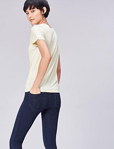 FIND Camiseta de Corte Cuadrado para Mujer Beige (Butrmilk)
