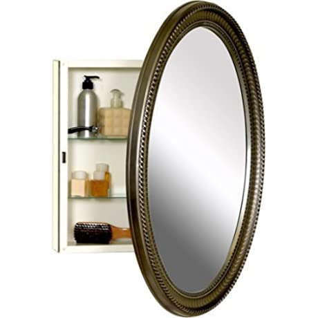 Oval Medicine Cabinet Poly Frame Antique Style Pewter Finished Frame Large Oval Mirror Cabinet Body Is Made Of Durable Steel Decorative And Functional Addition To Any Bathroom