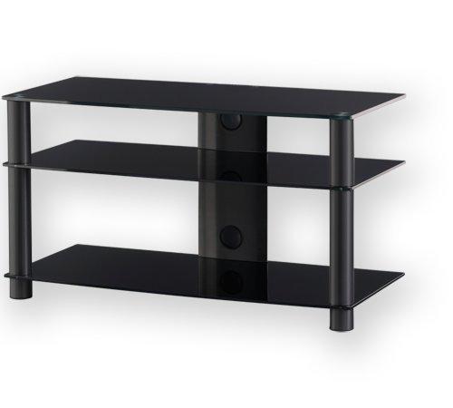 Sonorous LF 6230 de B de HBLK Mesa de TV, Cristal Negro, Aluminio ...