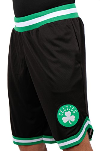 Ultra Game NBA Boston Celtics Men's Mesh Basketball Shorts Woven Active Basic, Large, Black