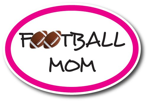 Football Mom Car Magnet Decal 4 x 6 Oval Heavy Duty for Car Truck SUV Waterproof ()