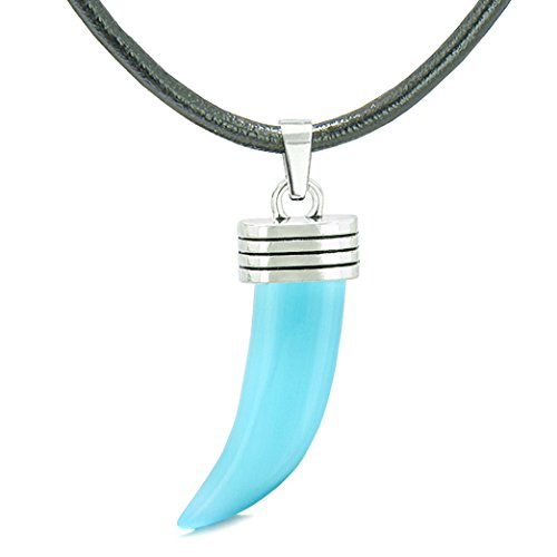 - Italian Horn Pepper Protection Powers Tooth Amulet Sky Blue Simulated Cats Eye Lucky Charm Leather Necklace