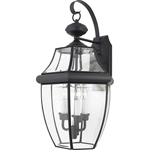 "Quoizel NY8318K Newbury Outdoor Wall Lantern Wall Mount Lighting, 3-Light, 180 Watts, Mystic Black (23""H x 12""W)"