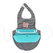 Creative Baby Dual Apron & Bib, Stripes, Teal, One Size