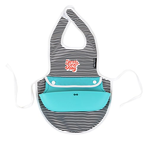 Price comparison product image Creative Baby Dual Apron & Bib,  Stripes,  Teal,  One Size