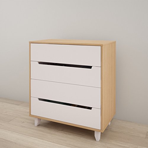 Nordik 340439 4-Drawer Chest, White and Natural Maple