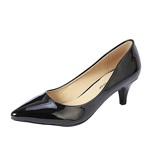 Coshare Women's Fashion Patent Embellished Front Low Heel Pumps Black ()