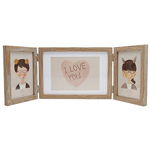 SUMGAR Wooden Three Picture Frame 5x7 and 4x6 Hinged Folding
