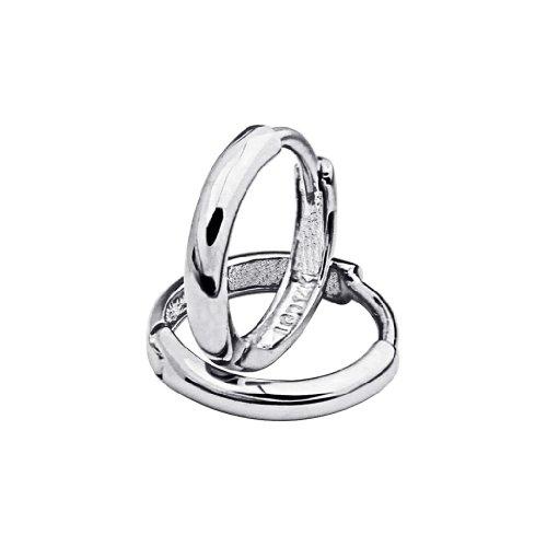 14k White Gold 2mm Thickness Hoop Huggie Earrings (11 x 11 mm) -