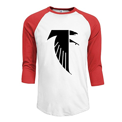 P-Jack Men's Atlanta Freddie Falcon Cotton Three-Quarter Sleeve Raglan Crew-Neck Summer TShirts Red (New Girls Bobby Jack)