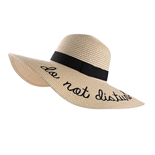 b8be10f67096d Aerusi Embroidery Large Floppy Wide Brim Straw Foldable Beach Sun Hat Caps