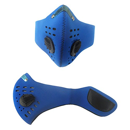 Quno Mountain Cycling Mask Respirator Anti-Fog and Haze Activated Carbon PM2.5 Suppression Blue]()
