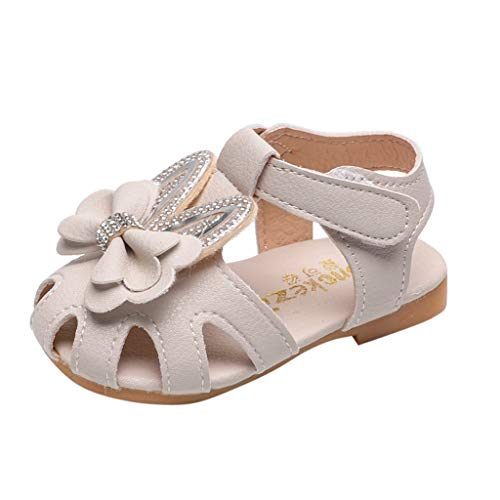 Girls Bowknot Sandals Summer Cute Ear Closed Toe Ankle Strap Dress Sandals for Toddler Little Kids Flat Shoes Beige