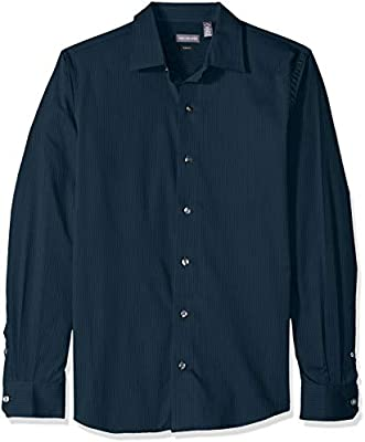 Van Heusen Mens Sateen Stripe Long Sleeve Button Down