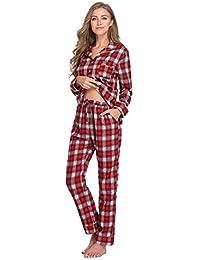 Cotton Pajamas Set for Women Plaid Long Sleeve...