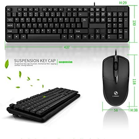 kebyy Wired Mouse Keyboard Set USB Desktop Sensitive Durable for Home Office Gaming