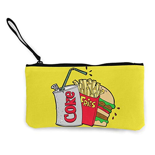 Junk Food And A Diet Coke Coin Purse Travel Makeup Pencil Pen Case With Handle Cash Canvas Zipper Pouch 4.7