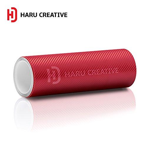 - Haru Creative 3D Carbon Fiber Matte Vinyl Wrap Roll with Air Release Technology - Red - 12