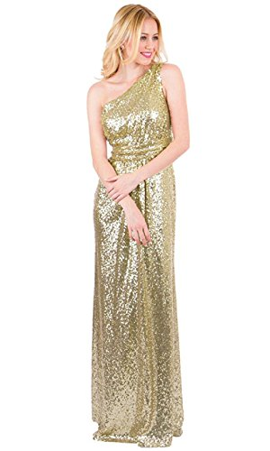 EverLove Women's Sequined Long Bridesmaid Dresses Wedding Party Gown EL-0045 8 Light Champagne