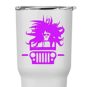 Personalized Jeep 4x4 Driving with Top Down Sunglasses Messy Hair for Laptops Yeti RTIC Ozark Drinkware