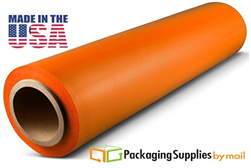 32 Rolls Tinted Orange Hand Pallet Wrap Plastic Stretch Film 18'' Wide x 1500 Ft. 63 Gauge by PackagingSuppliesByMail